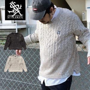 STYLEKEY(スタイルキー) セーター ROYAL POINT CABLE SWEATER(SK17HO-KN01) ストリート系 B系 大きいサイズ ニット|b-bros