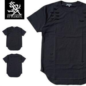 -当店限定商品- STYLEKEY スタイルキー ロング丈Tシャツ DAMAGE LONG S/S TEE(SK17SP-LSS05) ストリート系 B系 大きいサイズ|b-bros