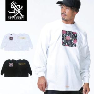 【SALE Mのみ】STYLEKEY(スタイルキー) 長袖Tシャツ PRESENTS L/S TEE(SK18HO-LS03) ストリート B系 ヒップホップ レゲエ 薔薇 ロゴ|b-bros
