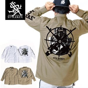 STYLEKEY スタイルキー 長袖ワークシャツ TARGET L/S WORK SHIRT (SK19FW-BL01) ストリートファッション ヒップホップ レゲエ B系 ブラウス 大きいサイズ|b-bros