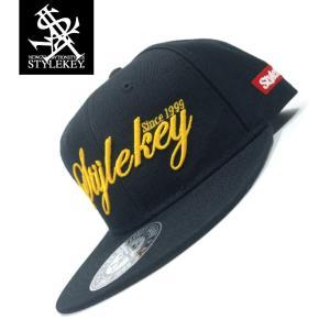 STYLEKEY(スタイルキー) スナップバックキャップ SCRIPT LOGO SNAPBACK CAP(SK19SP-CP02) ストリート系 B系 大きいサイズ BLACK ブラック 黒 イエロー 黄|b-bros