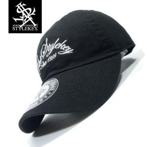STYLEKEY(スタイルキー) ローキャップ ARCH SCRIPT LOW CAP(SK19SP-CP04) ストリート系 B系 大きいサイズ ボールキャップ BLACK ブラック 黒 ホワイト 白|b-bros