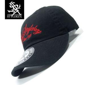 STYLEKEY(スタイルキー) ローキャップ ARCH SCRIPT LOW CAP(SK19SP-CP04) ストリート系 B系 大きいサイズ ボールキャップ BLACK ブラック 黒 レッド 赤|b-bros