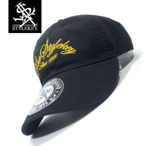 STYLEKEY(スタイルキー) ローキャップ ARCH SCRIPT LOW CAP(SK19SP-CP04) ストリート系 B系 大きいサイズ ボールキャップ BLACK ブラック 黒 イエロー 黄|b-bros