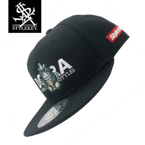 STYLEKEY(スタイルキー) スナップバックキャップ DORA-CHAN SNAPBACK CAP(SK21SP-CP01) ストリート ヒップホップ レゲエ バンド B系 帽子 ロゴ ブラック 黒|b-bros