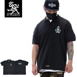 STYLEKEY スタイルキー ポロシャツ DORA-CHAN 鹿の子 S/S POLO(SK21SP-PL01) ストリートファッション B系 ヒップホップ レゲエ キャラクター 刺繍 大きいサイズ|b-bros