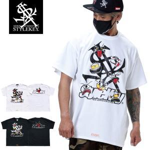 STYLEKEY スタイルキー 半袖Tシャツ MONSTER HOUSE S/S TEE(SK21SP-SS06) ストリート系 ヒップホップ レゲエ B系 モンスター ロゴ 大きいサイズ|b-bros