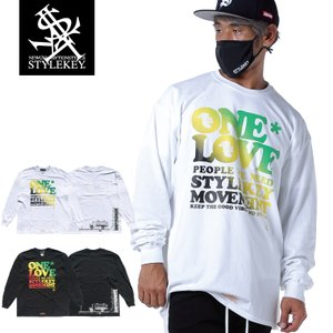 STYLEKEY CLASSIC LABEL(スタイルキー クラシック・レーベル) 長袖Tシャツ ONE LOVE L/S TEE(SK99CL-LS09) ロンT ストリート レゲエ ラスタ 大きいサイズ|b-bros