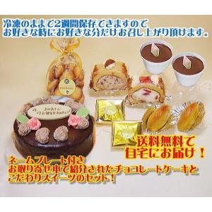 【送料無料】誕生日バースデーケーキにプレート・花デコ付チョコレートケーキ5号とスイーツ詰め合わせSセット【BCCスイーツ】cupチョコ|b-c-c