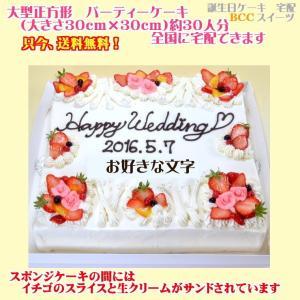 バースデーケーキNo,1771/大きいケーキ正方形30cm/誕生日ケーキ/パーティーケーキ|b-c-c