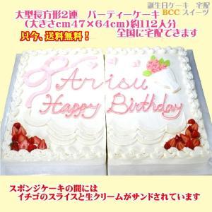 バースデーケーキNo,1932/大きいケーキ長方形2連 62cm×47cm 大きい誕生日ケーキ/パーティーケーキ|b-c-c
