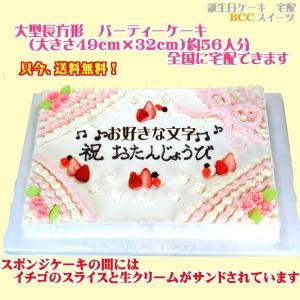 バースデーケーキNo,1872/大きいケーキ長方形47cm×31cm誕生日ケーキ/ウエディングケーキ|b-c-c