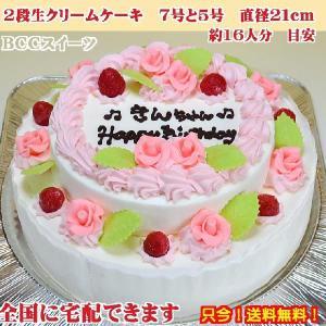 誕生日ケーキ7号 No,165/オーダーケーキ7号2段ケーキ/バースデーケーキ/生クリームケーキ b-c-c 02