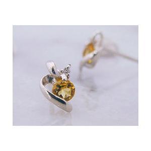 シトリン ダイヤモンド プラチナ pt950 リボンモチーフ スタッドピアス 11月誕生石 金属アレルギー対応|b-ciao