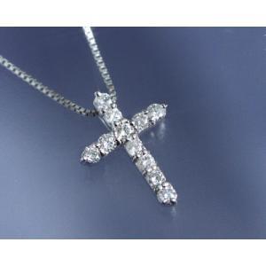 ネックレス ダイヤモンド0.2ct クロス K18ホワイトゴールド 4月誕生石|b-ciao