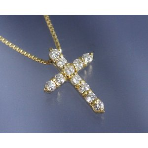 ネックレス ダイヤモンド0.2ct クロス K18イエローゴールド 4月誕生石|b-ciao