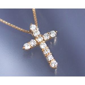 ネックレス ダイヤモンド0.2ct クロス K18ピンクゴールド 4月誕生石|b-ciao