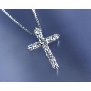 ネックレス ダイヤモンド0.3ct クロス K18ホワイトゴールド 4月誕生石|b-ciao