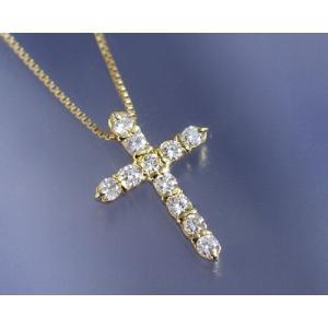 ネックレス ダイヤモンド0.3ct クロス K18イエローゴールド 4月誕生石|b-ciao