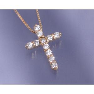 ネックレス ダイヤモンド0.3ct クロス K18ピンクゴールド 4月誕生石|b-ciao