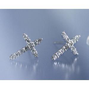 ダイヤモンド0.2ct クロス スタッド ピアス K18ホワイトゴールド 4月誕生石 b-ciao