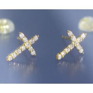 ダイヤモンド0.2ct クロス スタッド ピアス K18イエローゴールド 4月誕生石 b-ciao