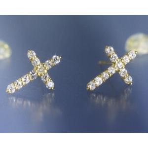 ダイヤモンド0.3ct クロス スタッド ピアス K18イエローゴールド 4月誕生石 b-ciao