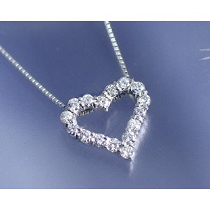 ネックレス K18WG ダイヤモンド0.3ct オープンハート ネックレス国産 日本製 4月誕生石|b-ciao