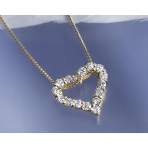 ネックレス ダイヤモンド0.3ct オープンハート K18イエローゴールド 4月誕生石|b-ciao