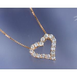 ネックレス ダイヤモンド0.3ct オープンハート K18ピンクゴールド 4月誕生石|b-ciao
