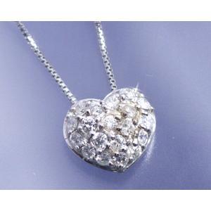 ネックレス ダイヤモンド0.3ct パヴェ ハート K18ホワイトゴールド 4月誕生石|b-ciao