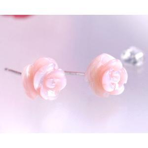 ピンクシェル バラ 薔薇 スタッド ピアスK10 K18ホワイトゴールド|b-ciao