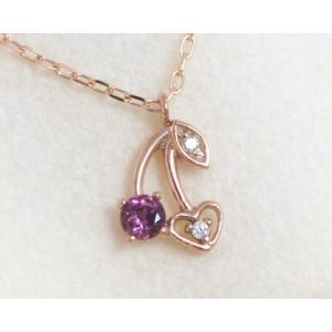 ネックレス ロードライトガーネット ダイヤモンド ネックレス K10ピンクゴールド「モンプチ・シェリー」国産 日本製 1月誕生石|b-ciao