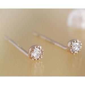 ダイヤモンド0.04ct スタッド ピアスK10 K18ピンクゴールド 4月誕生石|b-ciao