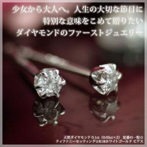 ダイヤモンド0.1ct ティファニー・セッティング 立爪 スタッド ピアス K18ホワイトゴールド 4月誕生石|b-ciao