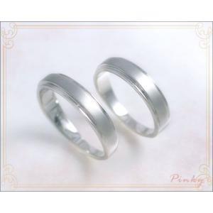 プラチナ ペアピンキーリング シェリール マット+ミラー仕上げ 薬指の細いカップルのペアリングにもOK国産 日本製|b-ciao