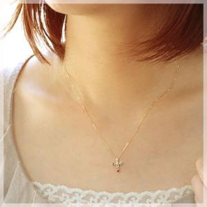 アミュレットクロス 天然石7色ネックレス K10YG|b-ciao|02