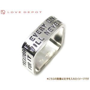 LOVE DEPOT ラヴディーポ シルバー950 スクエアリング DPR01-022 文字2行サイズ直し不可デザイン代引き不可 b-ciao
