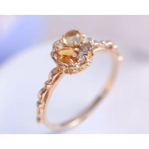 タルトシリーズ シトリン レモンクォーツ スモーキークォーツ ダイヤモンド リング 指輪 K10ピンクゴールド 11月誕生石|b-ciao