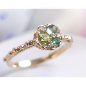 タルトシリーズペリドット グリーンクォーツ エメラルド ダイヤ リング 指輪 K10イエローゴールド 5月誕生石 b-ciao