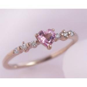ピンクトルマリン ダイヤモンド ハート リング 指輪 K10ピンクゴールド 10月誕生石 b-ciao