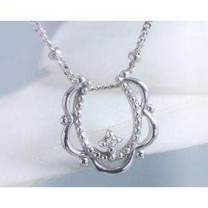 ネックレス ダイヤモンド 幸運の馬蹄 ホースシュー K10ホワイトゴールド 4月誕生石|b-ciao