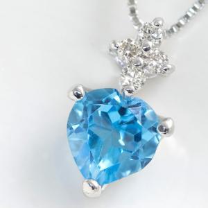 ハートシェイプ ブルートパーズ ネックレス ダイヤモンド ペンダント K10 ホワイトゴールド 10金 11月誕生石|b-ciao