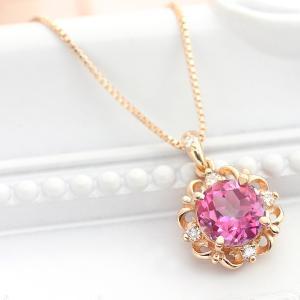 ピンクトパーズ ネックレス レディース 6mm K10ピンクゴールド ダイヤモンド 0.05ct ペンダント 11月誕生石|b-ciao