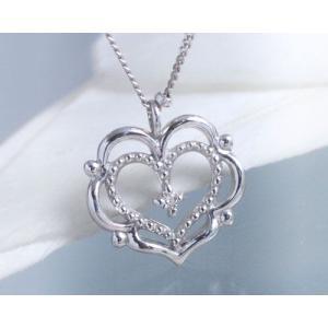 ネックレス ダイヤモンド ハート ネックレス K10ホワイトゴールド 4月誕生石|b-ciao
