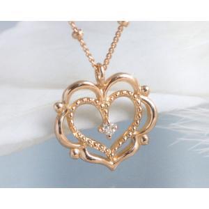 ネックレス ダイヤモンド ハート K10ピンクゴールド 4月誕生石|b-ciao