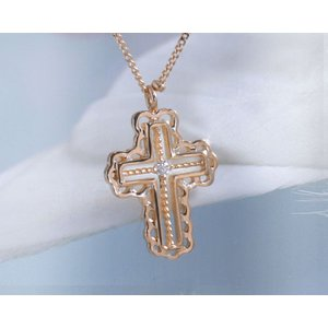 ネックレス ダイヤモンド 願いを叶えるクロス K10ピンクゴールド 4月誕生石|b-ciao
