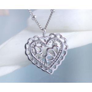 ネックレス ダイヤモンド 透かしハート ネックレス K10ホワイトゴールド 4月誕生石|b-ciao