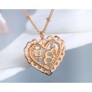 ネックレス ダイヤモンド 透かしハート ネックレス K10ピンクゴールド 4月誕生石|b-ciao