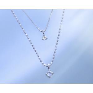 ネックレス ムーンストーン ダイヤモンド 2連ネックレス エクラデコール K10ホワイトゴールド 6月誕生石 b-ciao